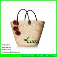 Wholesale LUDA 2016 summer straw handbags pom poms deco wheat straw beach bag from china suppliers