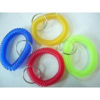 Wholesale Hot sales red blue/yellow/green transparent wristband coil holder w/key ring for anti-lost from china suppliers