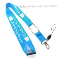 Wholesale Flat nylon carabiner lanyards, safety breakaway nylon neck lanyards with metal carabiner, from china suppliers
