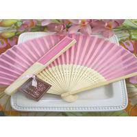 Quality Solid Color Printed Bamboo Fabric Hand  Fan For Promotion , Gifts With Variety Colors for sale