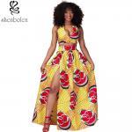Wholesale Sexy Halter Neckline Short Top African Print Dresses Maxi Ankara Wax Batik Printing from china suppliers