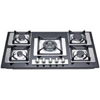 Wholesale Full Black Tempered Glass / Stainless Steel Gas Hob With Cast Iron Pan Supports from china suppliers