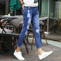 Wholesale 100 Percent Cotton Blue Classic Mens Stretch Denim Jeans Super Skinny Knee Hole from china suppliers