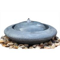 Quality Natural Flamed Granite Sphere Fountain , Outdoor Sphere Water Fountains For Backyards for sale