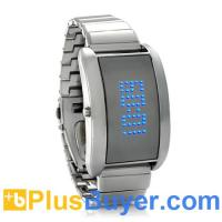 Wholesale Blue Fiction - Metal Alloy LED Watch with Blue Scrolling Text from china suppliers