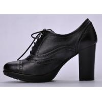 Wholesale High Heel Womens Booties Shoes , 36-41 Size Black Durable Lace Front from china suppliers