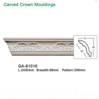 Quality Modern Design White Decorative PU Carving Cornice Moulding Length 2400mm for sale