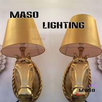Buy cheap Maso Indoor Lighting Golden Painted Color Finished Hotel Lobby Resin Material Horse Head Wall Lamp Contemporaty Style from wholesalers