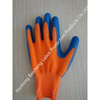 Wholesale Anti-Slip Orange Latex Coated Gloves , 13 Gauge Blue Polyester Crinkle Glove from china suppliers