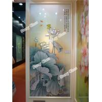 Wholesale Engraved Glass Partition Wall - Lotus Painting from china suppliers
