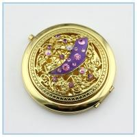 Wholesale Hollow out set auger mini gold metal pocket mirrors from china suppliers
