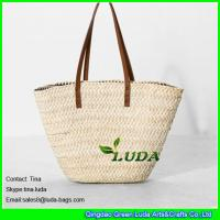 Wholesale LUDA leather handles straw handbags wholesale cornhusk straw handbags from china suppliers