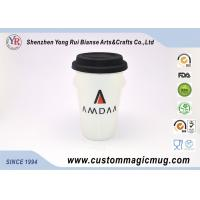 Wholesale 350ml Double Wall Ceramic Mug , Coffee / Tea / Milk Travel Mug With Silicone Lid from china suppliers