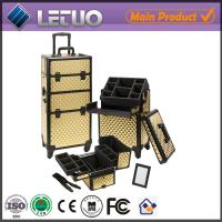 Quality golden croc make up beauty cosmetic makeup trolley case aluminium make up case for sale