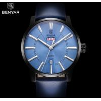 China BENYAR Men Genuine Leather Strap Simple Quartz Wrist Watches Casual 3 ATM Waterproof Men Watches BY-5101 for sale