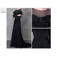 Beautiful Black Long Sleeve A Line Dress Beading See Through Back Sweep Train for sale