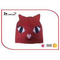 Wholesale Kitty Shape Red Knit Hats With Two Little Ears And Rib Edge For Girls from china suppliers