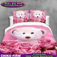 Wholesale Cute Bear Toy Design Rose Flowers Pure Polyester 3D Bedding Sets from china suppliers