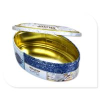 Quality Oval Tea Tin Canister With Inner Golden Color Metal Box Custom Print Accepted for sale