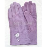 Wholesale XXL Luxury purple silk lining Customized girls pig suede Skin leather gloves from china suppliers