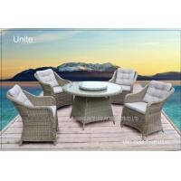 Wholesale 5 Piece Poolside Rattan Table And Chairs Set With Cushion / Rotary Tabletop from china suppliers