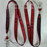 Wholesale Metal crimp woven lanyard with jacquard logo, office conference neck strap lanyards, from china suppliers