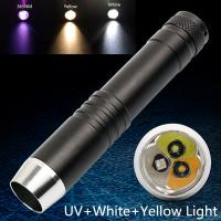 Wholesale 395NM 365NM UV LED Flashlight for Detecting Money,Jade,Gemstons,Yellow Light CREE Q5 Handheld LED Penlight from china suppliers