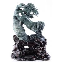 """Wholesale 11.8""""Green Moss Agate Tiger Sculpture Stone Carving, Tiger Figurine (R65) from china suppliers"""
