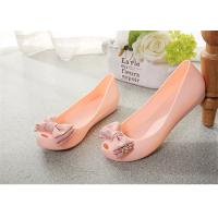 Wholesale Plastic Resin  Summer Fashion Sandals Womens Peep Toe Flat Shoes With Bowknot from china suppliers