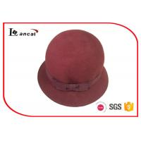 Wholesale Burgundy 100% Wool Felt Hat With Bowknot Ribbed Hatband , Womens Bowler Hat from china suppliers