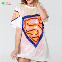 Wholesale White Color Diamond Womens Sequin Clothing Jersey Mini T Shirt Dress from china suppliers