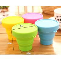 Wholesale Portable Folding Silicone Cup with Lid For Travel 170ml from china suppliers
