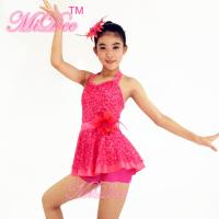 China 2 In 1 Pink Sleeveless Sequin Dress Leotard Girls Dance Costumes For Competition for sale