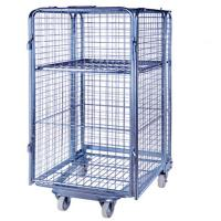 Buy cheap Folding Supermarket Metal Wire Mesh Warehouse Storage Roll Cage from wholesalers