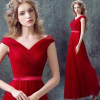 Wholesale Sexy Deep V Neck Red Elegant Lace Up Evening Dresses TSJY026 from china suppliers