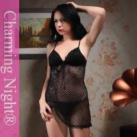 Wholesale Mature Female Nylon Black Sexy Chemise Lingerie Dress With Bras from china suppliers