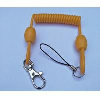 Wholesale 3.0mm dia Solid Yellow Extended 80cm Retractable Coil Chain with Snap Hook&Nylon Strap from china suppliers