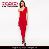 Wholesale Elegant One Shoulder Red Drape Women Jumpsuit with Long Pants from china suppliers