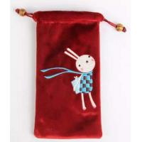 Wholesale personalized velvet cellphone bag pouch with embroidery from china suppliers