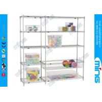 Wholesale Chrome Wire Shelves Customized Silver Mobile Wire Shelving for Cosmetic Store from china suppliers