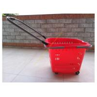 Wholesale Stackable Plastic Shopping Basket With Wheels For Grocery / Supermarket SGS from china suppliers