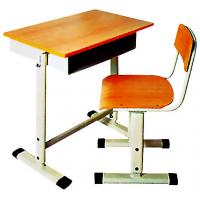 School furniture single desk and chair plywood and metal frame