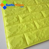 Wholesale 3D Brick Thicken Soft PE Foam Wall Sticker Panels Wallpaper Decor BRIGHT yellow colour from china suppliers