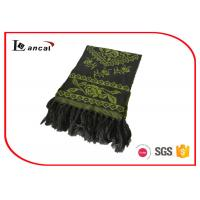 Wholesale 100% Acrylic Green Knitting Patterns Scarf Adults Flower Pattern Jacquard Scarf from china suppliers