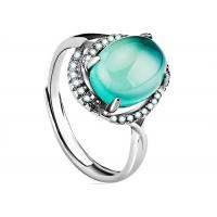 Wholesale Customized Sterling Silver Rings Faceted Green Agate Ring With Wax Micro Pave Faceted from china suppliers