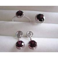 Wholesale 18k White Gold Jewelry Set, Ruby Ring, Ruby Earrings, Fine Jewelry from china suppliers