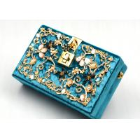 Blue Printing Flannel Evening Clutch Bags With Small Bling Crystals Accessories