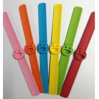 Wholesale Click Slap Smily Anti-Mosquito Silicone Bracelet with Refill Pellet for Children from china suppliers