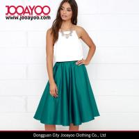 Wholesale Girls Classic Style High Waist Dark Teal Midi Long Shiny Satin Skirt from china suppliers