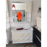 Buy cheap hung PVC Bathroom Cabinet / Single Bowl Bathroom Vanities with mirror 80cm from wholesalers